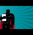 superhero holding book ray light silhouette vector image vector image