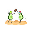 two funny avocados playing ball at the beach vector image