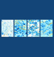watercolor fluid modern blue marble textures with vector image