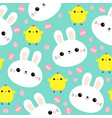 white rabbit bunny face chicken easter egg vector image vector image