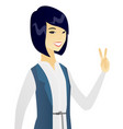 young asian business woman showing victory gesture vector image vector image