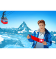 Young man tourist with map vector image vector image