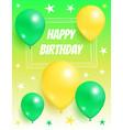 happy birthday background invitation card balloons vector image