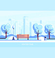 bench in winter city park flat style vector image vector image