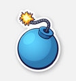 blue ball-shaped bomb with a burning fuse rope vector image vector image
