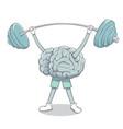brain raises barbell vector image