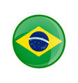 brazil flag in circle shape transparent glossy vector image vector image