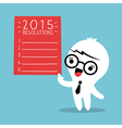 businessman cartoon with 2015 new year resolutions vector image