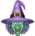 cartoon witch head isolated on white background vector image vector image