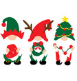 christmas gnomes in red green hats with christmas vector image vector image