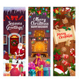 christmas winter holiday decorations and gifts vector image vector image