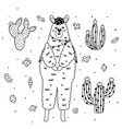 coloring page with cute llama and cactuses vector image vector image