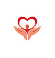creative hands holding human body with heart logo vector image vector image