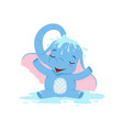 cute baby elephant pouring himself with water vector image vector image