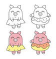 cute pig funny animals vector image vector image