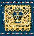 day dead papercut mexican skull card vector image vector image