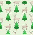 deer and christmas tree seamless pattern vector image vector image
