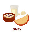 delicious dairy products from farm full of useful vector image vector image
