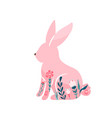easter bunny pink rabbit with vector image