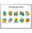 entrepreneur icons linecolor pack vector image