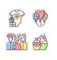 family birthday celebration rgb color icons set vector image