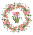 floral circle frame with tulips vector image