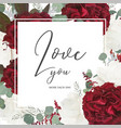 floral greeting card with red and white roses vector image