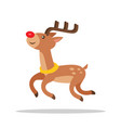 funny cartoon reindeer with luxury antlers side vector image