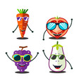 funny fruits set vector image vector image