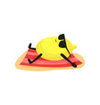 funny lemon in sunglasses sunbathing on the beach vector image