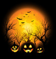 halloween background full moon and jack o vector image