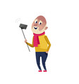handsome mature man doing selfie character vector image vector image