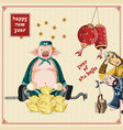 happy chinese new year with zhu bajie big smile vector image