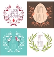 Happy Easter festive greeting card set with floral vector image vector image