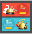 hotel reception service banner horizontal set with vector image vector image