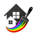 house and paint brush vector image vector image
