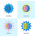 human virus icons collection in flat style vector image vector image