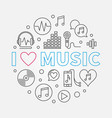 i love music circular in thin vector image