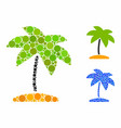 island tropic palm mosaic icon round dots vector image vector image
