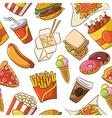Junk food seamless pattern vector image vector image