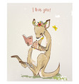 kangaroo with little baby vector image