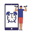 man practicing sport mobile clock alarm vector image