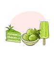 matcha green tea ice cream cake popsicle vector image vector image