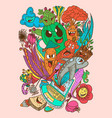 mix doodle monster and nature vector image vector image