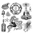 nautical adventure set sea lighthouse mermaid vector image