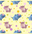 pattern with cartoon cute baby behemoth elephant vector image vector image