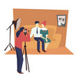 photographer with camera and studio family vector image vector image