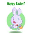 Purple Bunny With An Easter Basket vector image vector image