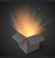 Realistic Magic Open Box Magic Gift Box with vector image vector image