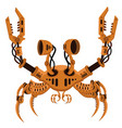 robot crab in steampunk style on a white isolated vector image vector image
